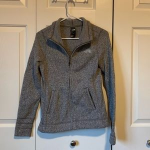 The North Face heather gray knit zip jacket. XS